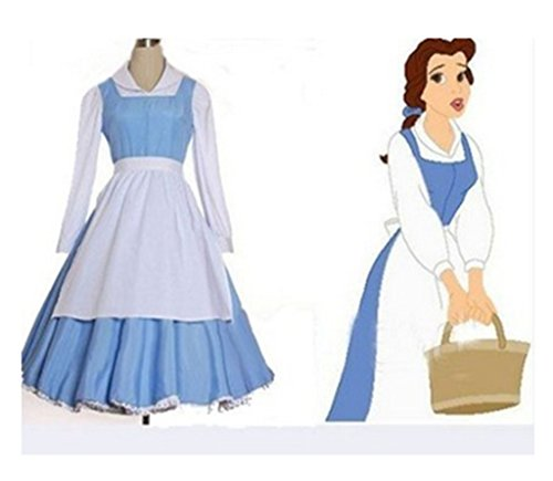 Beauty and the Beast Belle Women Girl Maid Dress Uniform Halloween Cosplay Costume