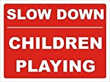 Smarts-Art Slow Down Children Playing Safety Warning Sign 30Cm X 40Cm
