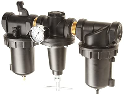 "Parker C628-08FRLWJCWR Three-Unit Combo Compressed Air Filter/Regulator/Lubricator, 1"" NPT, Metal Bowl with Sight Gauge, Auto Drain, 40 Micron, 240 scfm, Relieving Type, 0-125 psi Pressure Range,"