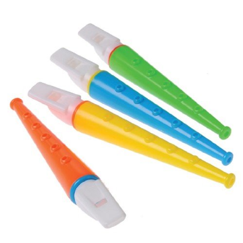 Dozen Assorted Color 5 Note Toy Plastic Flutes - 1