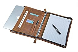 Rustic Leather Padfolio with 3-Ring Binder for Letter A4 Paper, 11-inch MacBook Air,Brown