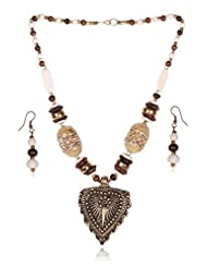 Awesome Rajasathani Tribal Collection Gold & Brown Color Traditional Ethnic Long Necklace Set With Earrings For...