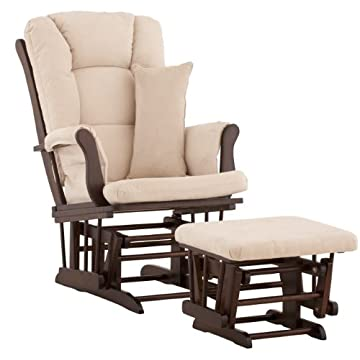 Stork Craft Custom Tuscany Espresso Finish Glider and Ottoman with Free lower lumbar pillow, Beige Cushions