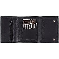 Portachiavi In Morbida Pelle Nera E Porta Carte