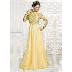 Sanjana Design Women's Western Georgette Dress Material ( KS6313_Free Size_Cream)