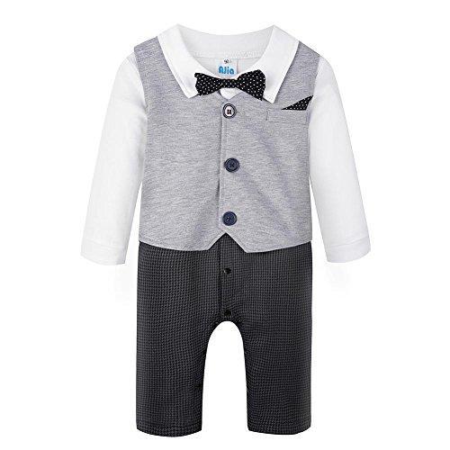 LEIDE Baby Boy's Romper 3Pcs Gentleman Formal Tuxedo Suits Clothes Set. Grey, 6-12 months