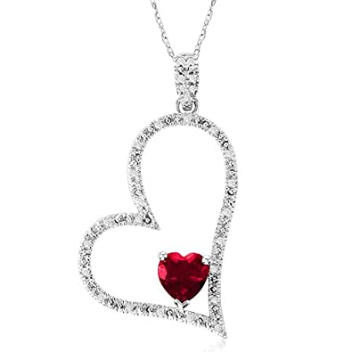 10k White Gold Heart-Shaped Created Ruby with Diamonds Heart Pendant Necklace, 18
