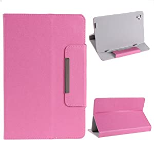 """NSSTAR Universal Textured Faux Leather Folio Stand Flip Protection Guard Case Cover with Magnetic Closure for 9"""" inch Android Tablet PC (Pink) from NSSTAR"""