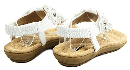 Calista67 Kids Lace Flower Rhinestone T-Strap Cushioned Slingback Thong Sandal Shoes