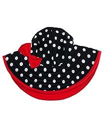 RuffleButts® Infant / Toddler Girls Black & White Polka Dot Swim Hat w/ Red Bow - Black/White - 0-12m
