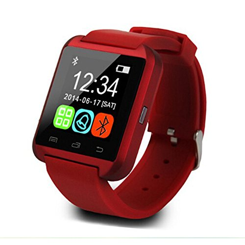 U8 Plus Smart Watch,Teslasz U8 Plus Bluetooth 4.0 Smart Wrist Wrap Watch Phone for IOS Android Smartphones iPhone 5 and Samsung (Red)