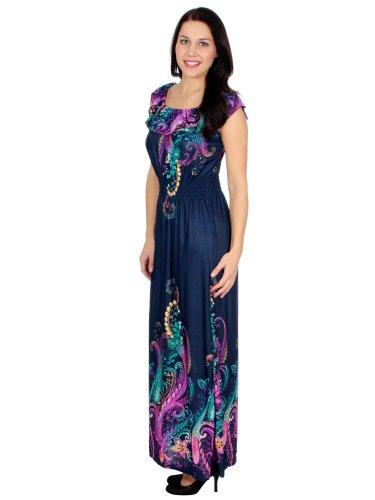 Maxi Dress Silky Long Graphic Print Beach Dress - Blue