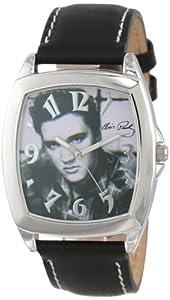 Elvis Presley Men's ELV081 Oversized Silver-Tone Black Strap Watch