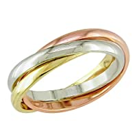 Ladies 14K tri-color gold wedding band