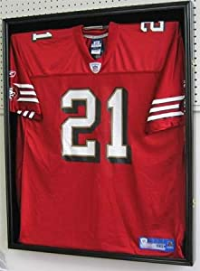 XX Large NFL MLB NBA NHL Football Uniform Jersey Display Case Shadow box frame, UV Protection, Built-in Lock-Black Finish (JC02-BL)