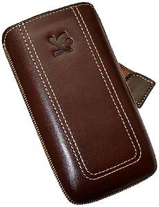 Original Suncase Echt Ledertasche (Lasche mit Rückzugfunktion) für Nokia X7-00 in braun