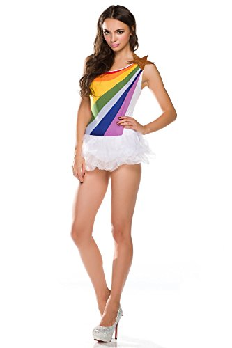 Luodemiss Dancewear Rainbow Halloween Sexy Costume Fancy Party Rave Dress Party