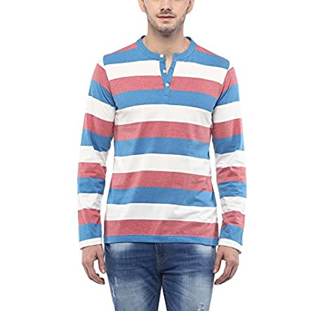 American Crew Men's Henley Stipres T-Shirt (White, Blue & Brick Red Melange) By Amazon @ Rs.524