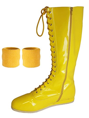 Yellow Pro Wrestling Costume Boots with Matching Sweatbands