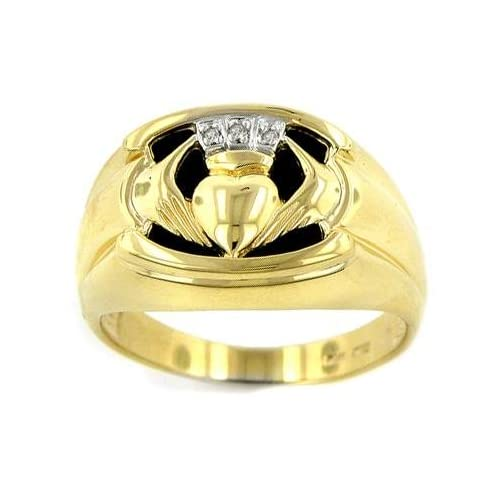 Gold Men's Onyx Claddagh Ring