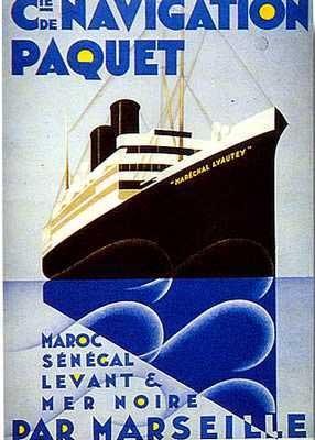 Vintage Art Deco Poster Navigation Paquet Marseille Ship MediterraneanB0000DWGYV
