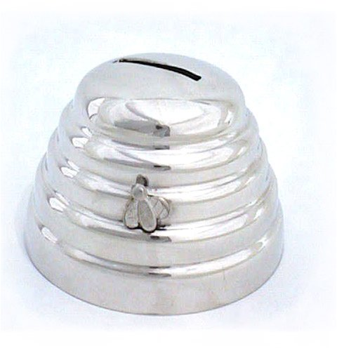 Childs pewter money box beehive design