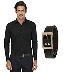 FOCIL Black Formal Shirt & Belt for Men