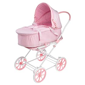 Gingham 3-In-1 Doll Pram/ Carrier/ Stroller- Pink