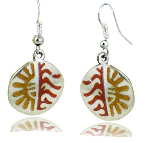 ARTCAMP Fair Trade Alpaca Silver Inlaind Hopi Sun Earrings - Red & Amber