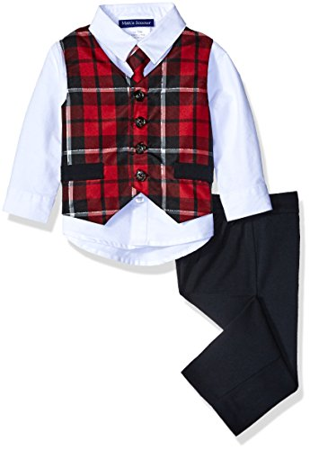 Bonnie Baby Boys' 4 Pc Tartan Pant Set, Black, 12 Months