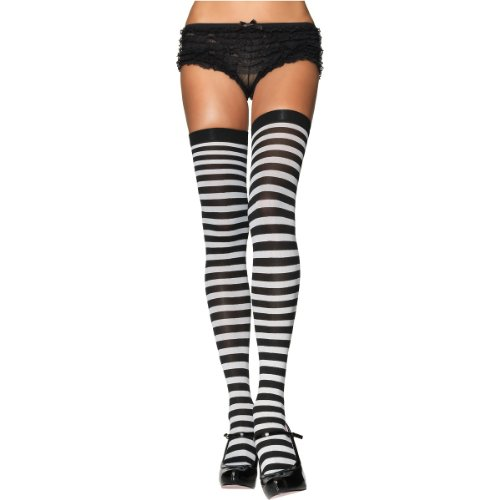 Nylon Striped Stockings Hosiery - One Size - Dress Size 6-12