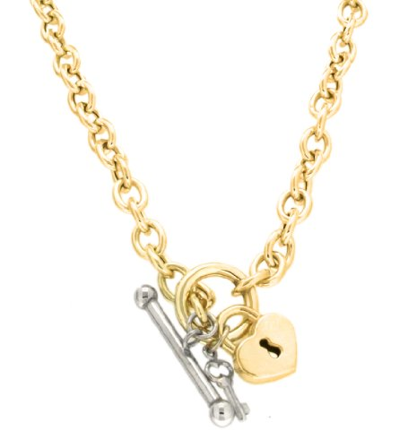 9ct Two Colour Gold T-Bar Lock and Key Belcher Chain Necklace 43cm/17