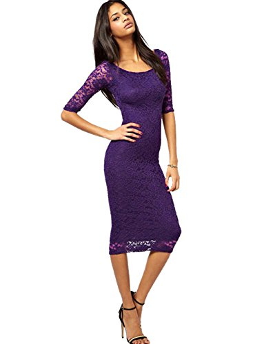 WEIJU Women Lace Overlay Dress Elegant Bodycon Midi Evening Dress ,Purple,M