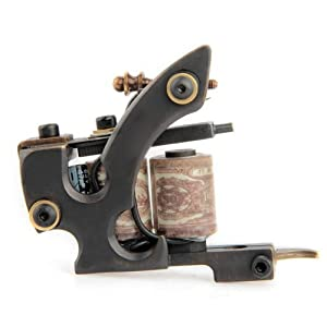 SODIAL(R) Pro Carved Brass Tattoo Machine Gun 10 Wrap Coils Liner Shader Body Art Supply