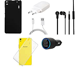 NIROSHA Cover Charger Car Charger Headphone / Hands Free for Lenovo A7000 - Combo