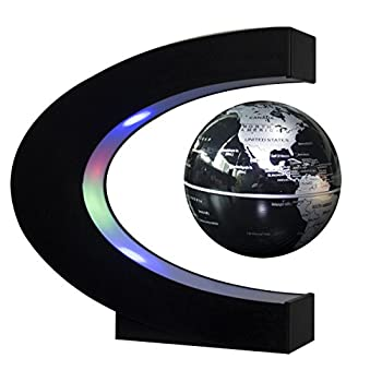 "TYoung C Shape LED Lights Magnetic Levitation Floating Globe 3"" World Map - Silver by T-Young"