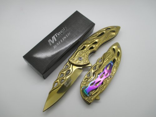 Mtech Assisted Opening Rescue Tactical Pocket Folding Collection Knife Outdoor Survival Camping Hunting - Gold