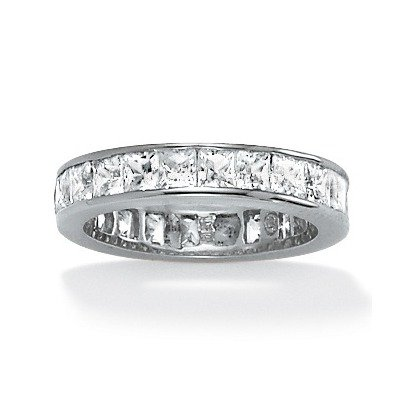 Sterling Silver Round Princess Cubic Zirconia Eternity Band Ring Size: 8