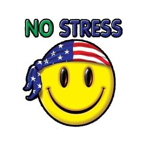 No Stress Smiley Face Usa Womens Scoop Neck T-Shirt