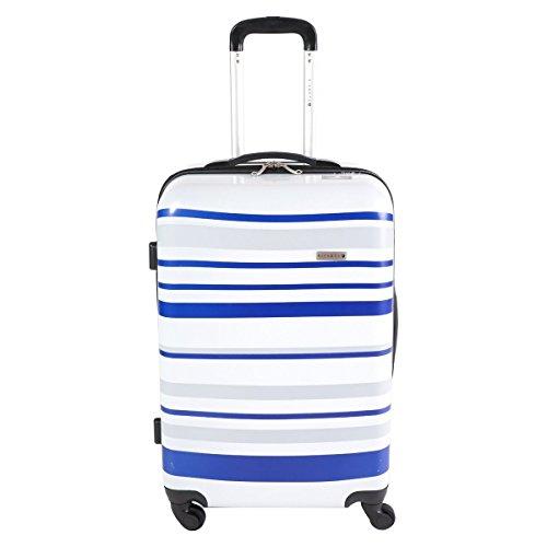 Trolley valigia da viaggio bagaglio a mano valigia Pianeta guscio rigido policarbonato / ABS colorato a strisce (bianco / nero / grigio) (Blu-Bianco-Grigio L)