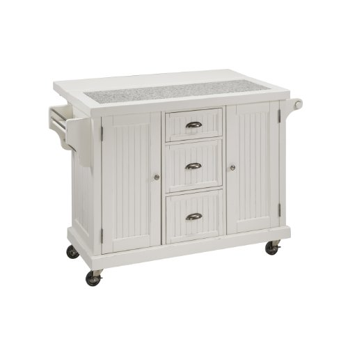 Home Styles 5022-95 Nantucket Kitchen Cart, Distressed White front-987541
