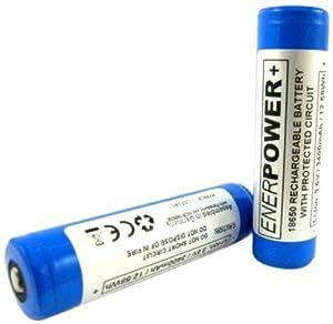 ENERPOWER - Batteria (Panasonic) ricaricabile protetta (PCB 7A) Li-Ion 18650 3.7V 3100 mAh - per la torcia
