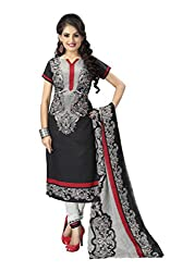 Vaamsi Women's Faux Cotton Salwar Suit Dress Material (Deep1032_Black_Free Size)