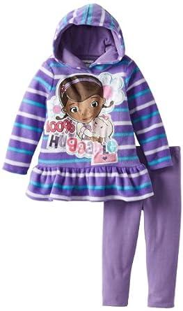 Disney Little Girls' Toddler Doc McStuffins 2 Piece Stripped Huggable Pulloverhood and Pant, Purple, 2T