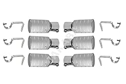 JAKABA Silver Stainless Steel and Alloy Curtain Finials with Supports - PACK of 12 Pcs.