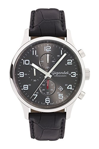 Gigandet Reloj de Hombre Cuarzo Red Touch Cronógrafo Analógico Cuero Gris Negro G51-001