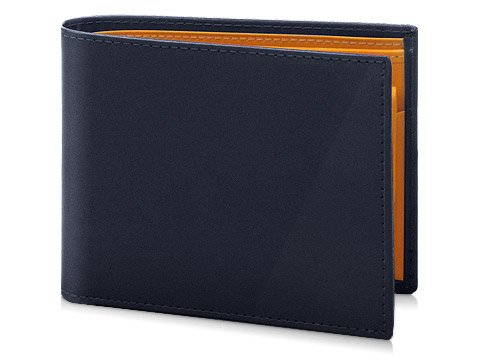 [エッティンガー] ETTINGER ブライドルレザー小銭入れ付き二つ折り財布(ネイビー×ロンドンイエロー)(141JR-BRIDLE HIDE-BILLFOLD WITH 3C/C & PURSE-NAVY) 並行輸入品