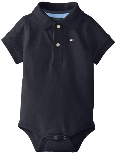 Tommy Hilfiger Baby-Boys Infant Short Sleeve Ivy Bodysuit, Core Navy, 9 Months