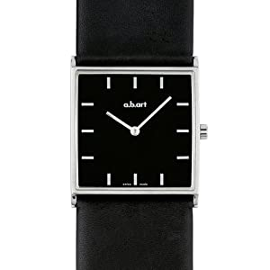 a.b.art Women's Quartz Watch with Black Dial Analogue Display and Black Leather Strap E405
