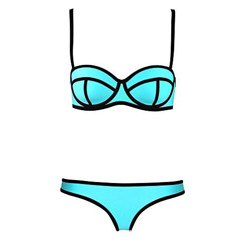 Bessky(TM) Bandage Bikini Set Padded Bra Swimsuit (S, Blue) image